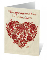 Red romany floral heart Valentine greetings card