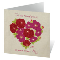 Heart with pink and red roses greetings card