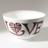 Red Love and Union Jack heart large bowl, bone china