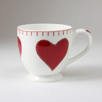 Red heart small cup, bone china