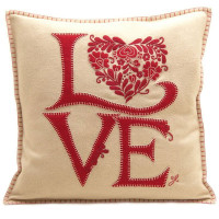 Romany Love designer cushion, cream and red, wool