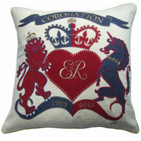 Coronation Cushion, linen, hand embroidered