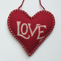 Linen Love Lavender Heart (Red)