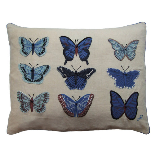 Blue Butterflies hand-embroidered cushion, linen