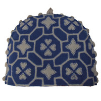 China blue fretwork designer tea cosy, cream and blue