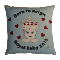 Royal baby 2013 cushion, blue linen