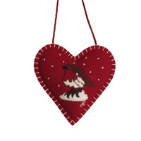 Robin red heart Christmas decoration, wool, hand-embroidered
