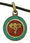Brass Buddha Eyes Pendant with Turquoise and Coral Inlay