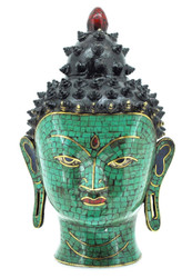 Buddha Head Statue, Bronze and Brass with Turquoise and Coral