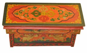 Buddhist Meditation Altar Table with Double Dorje Design on Top and Snow Lion Design on the Front