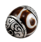 dZi bead with sterling silver