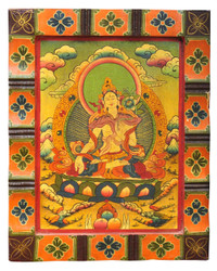White Tara Wood Painting, Buddhist Wood Thangka