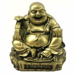 Small Gold Tone Sitting Happy Buddha Statue