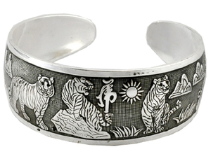 Tiger Bracelet, Handmade from White Metal