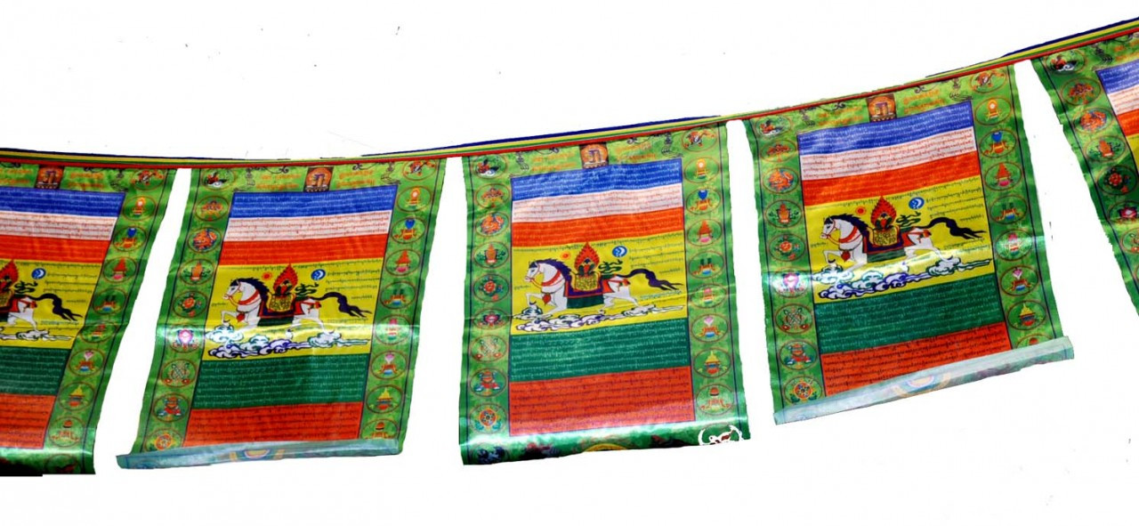 Lungta, Wind Horse Prayer Flags, Satin