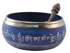 Blue Singing Bowl with Lotus Symbol