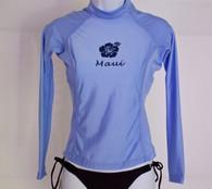 Women's Long Sleeve Light Blue Rash Guard