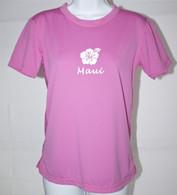 Women's Short Sleeve Light Pink Hibiscus UV Shirt