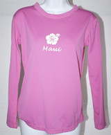 Women's Long Sleeve Light Pink Hibiscus UV Shirt
