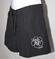 Women's High Waisted Mid-Length Board Shorts in Black or Brown