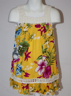 Girl's Hawaiian Floral Crochet Dress in Dark Yellow