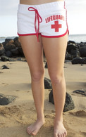 Junior Women's French Cut Lifeguard Shorts in White