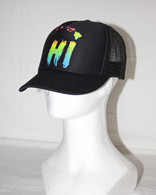 """HI - Chain"" Black/Neon Trucker Hat"
