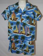 Boys Aloha Shirt And Short Set In Surf Board Paradise