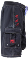 Men's Maui Rippers Fishing Board Shorts In Black With Ulua Fish And Tako (Octopus)