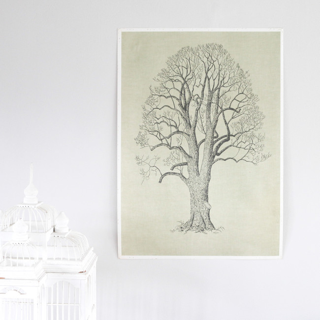 Vintage Double Sided Tree Print, Linden