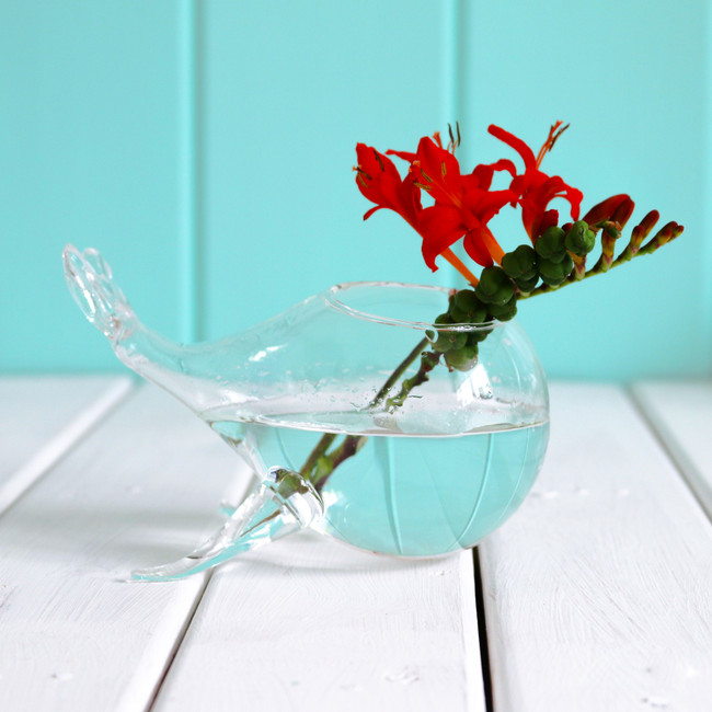 glass whale vase