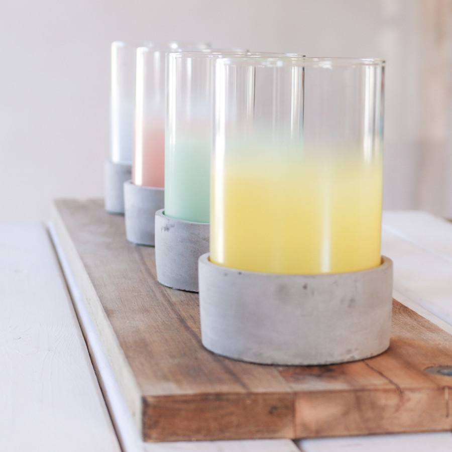 Cement Glass Ombre Candle Holder