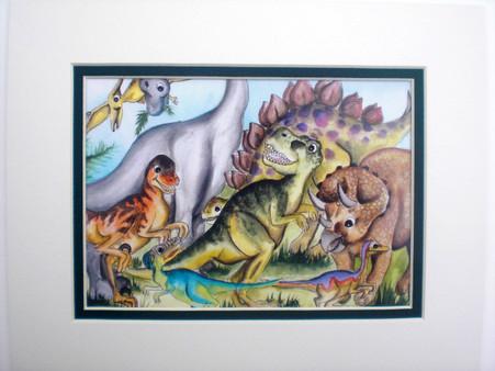 dinosaur print matted