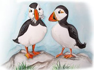 two puffins with fish