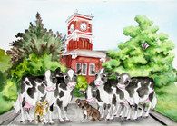 cows with clock tower