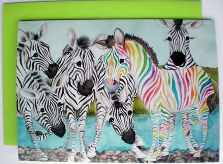 rainbow zebra 5x7 note card blank with envelope designs by Lisa Rasmussen