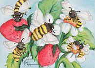 bees and strawberries