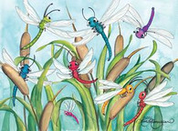 dragonflies and cattails