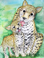 Leopard and cub   framed 18x 22   $140