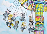 barnyard on the swing at the fair