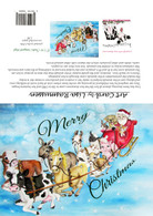 12 Christmas cards  farm animals pulling sleigh