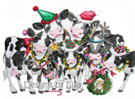 Cows with holiday cheer cards  set of 12 blank