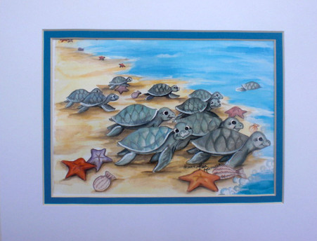 baby sea turtles print