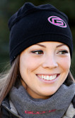 "Black  Beanie Hat with Pink ""G"" Logo"