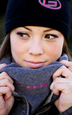 Grey Neck Gaiter with Pink GOODE Logo