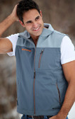 Double Diamond Vest Grey with Orange GOODE Logo Front & Back