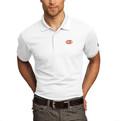 Ogio Poly Polo White with Orange Circle G Logo