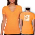 """V-Neck T Shirt Orange with White """"Life is Better at the Lake SKI GOODE"""""""