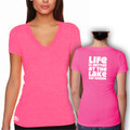 "V-Neck T Shirt Pink with White ""Life is Better at the Lake SKI GOODE"""
