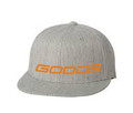 GOODE Unisex Flexfit 6 Panel Flat Bill Hat Gray/Orange Embroidered GOODE Logo